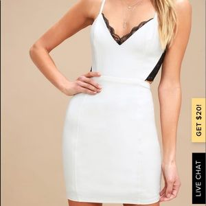 Black and Ivory Backless Lace Dress | S